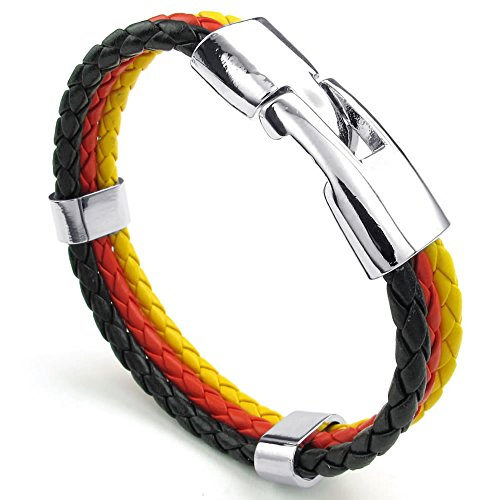 "Men Women Feather Bracelet, German Germany Flag Cuff Bangle, Black Red Yellow, 8"" 8.5"" 9"""