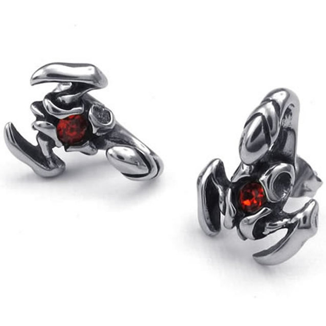 Men Cubic Zirconia Stainless Steel Gothic Scorpion Stud Earrings, Red Silver - InnovatoDesign