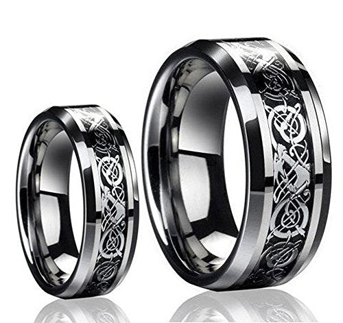 His & Her's 8MM/6MM The Celtic DRAGON Design Tungsten Carbide Wedding Band Ring Set - InnovatoDesign