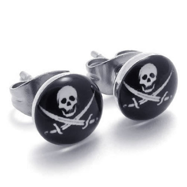 Two Tone Biker Men Stainless Steel Pirates Skull Stud Earrings, 2pcs, Silver Black - InnovatoDesign