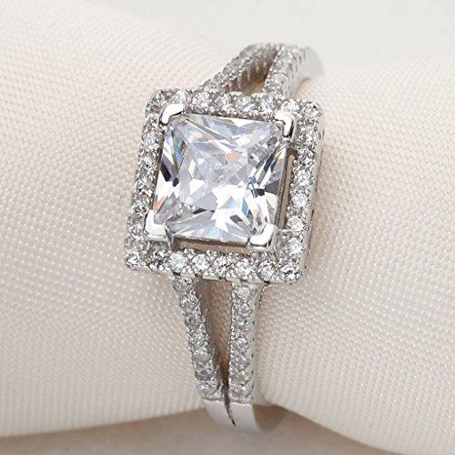925 Sterling Silver Princess Cut Vintage Style .25ct CZ Engagement Ring Clear