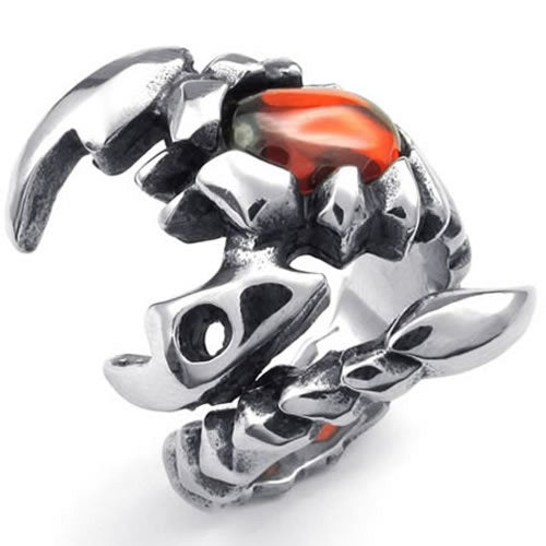 Men Stainless Steel Ring, Gothic Tribal Scorpion, Red