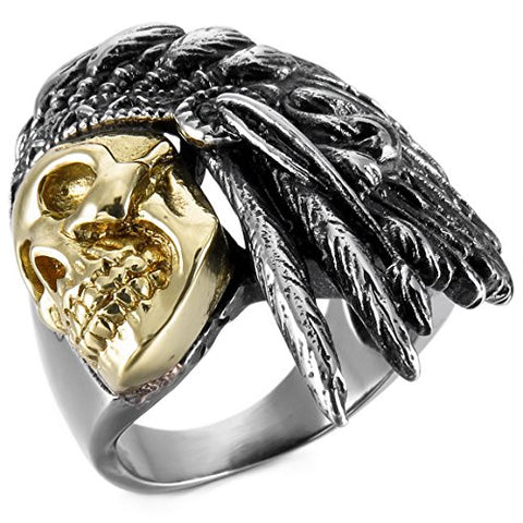 Men's Two Tone Stainless Steel Native American Ring