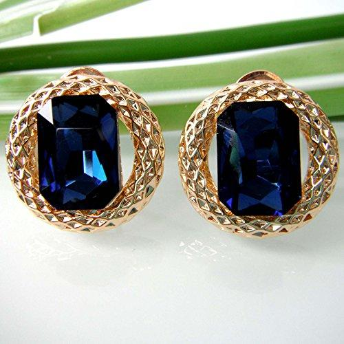 18k Gold Plated Cicle Blue Square Zircon Az1881o Omega Earrings