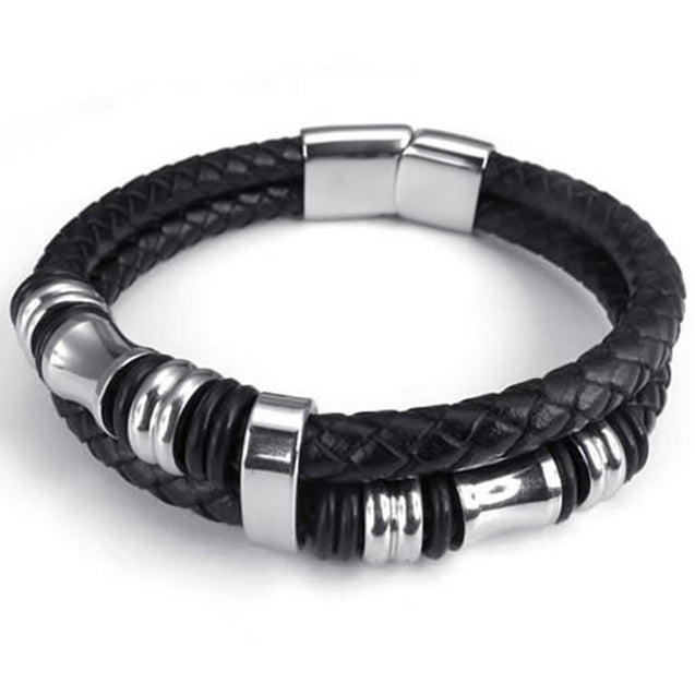 "Leather Men Bracelet Stainless Steel Charms Clasp, Black Silver - 8"", 8.5"", 9"""