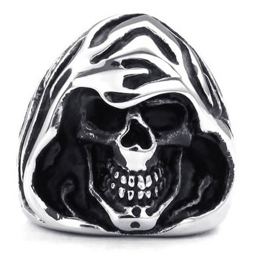 Men Stainless Steel Ring, Gothic Casted Grim Reaper Skull, Black - InnovatoDesign