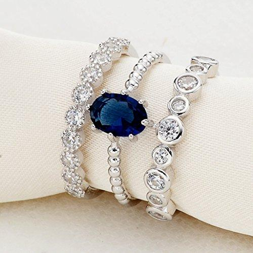 925 Sterling Silver Oval Prongs CZ Three Layers Adjustable Engagement Cuff Ring