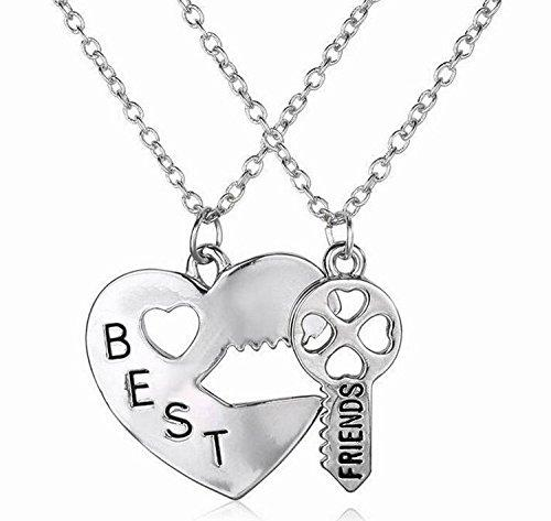 Best Friends Engraved Heart Key Pendant Friendship Charm Necklace Set of 2 Silver Color