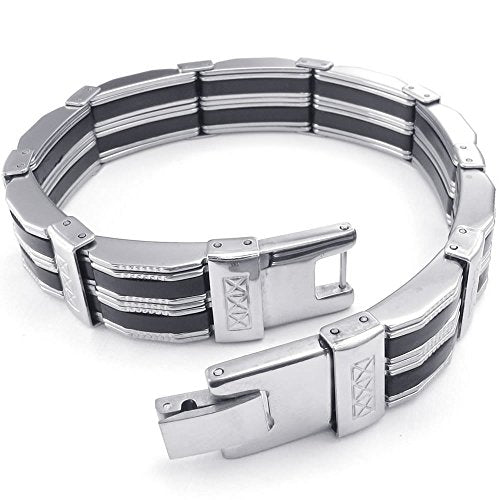 Men Stainless Steel Bracelet, Biker Link Cuff Bangle, Black Silver - InnovatoDesign