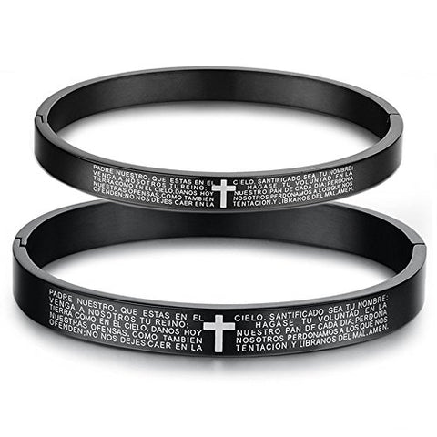 Black Titanium Stainless Steel Couple Latin Lord's Prayer Bangle