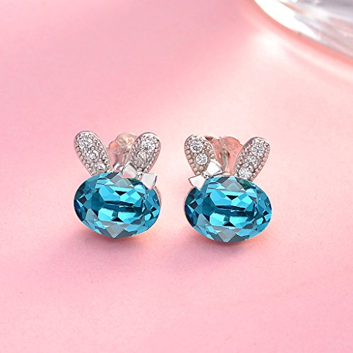 Sterling Silver CZ Lovely Bunny Stud Earrings Adorned with Swarovski crystals - InnovatoDesign