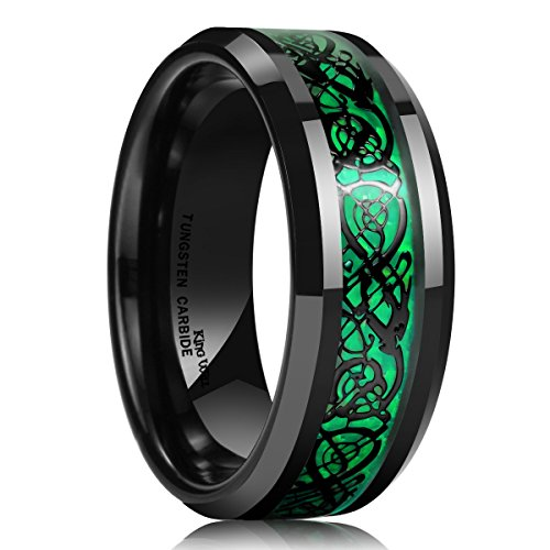 Men's 8mm Green Carbon Fiber Black Celtic Dragon Tungsten Carbide Ring Comfort Fit Wedding Band