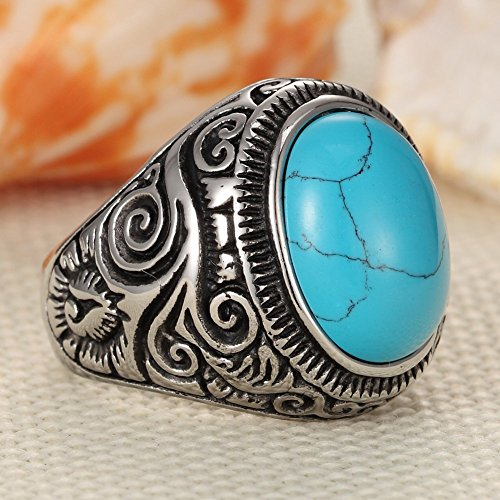 Men's Classic Turquoise Biker Stainless Steel Ring Band, Vintage Oval Ring,Blue silver - InnovatoDesign