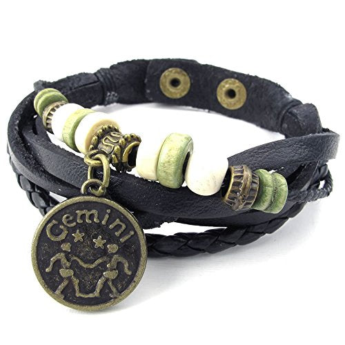 Men Women Leather Bracelet, Zodiac Sign Charms Beads Adjustable Bangle, Black - InnovatoDesign
