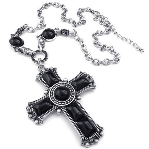 Men Women Large Vintage Celtic Cross Pendant Necklace Chain, Black Silver - InnovatoDesign