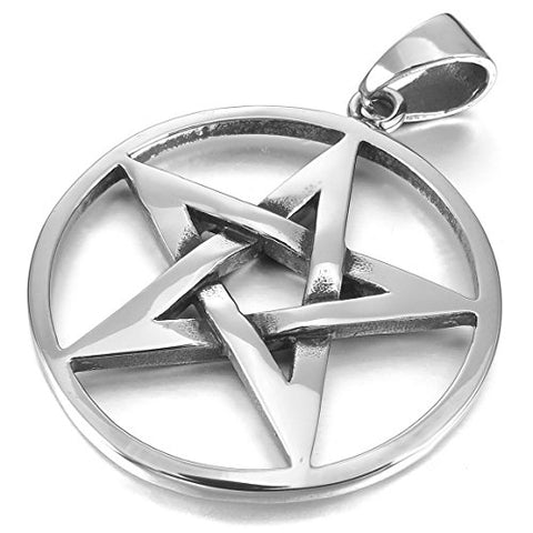 Stainless Steel Silver Pentacle Chain Pendant Necklace