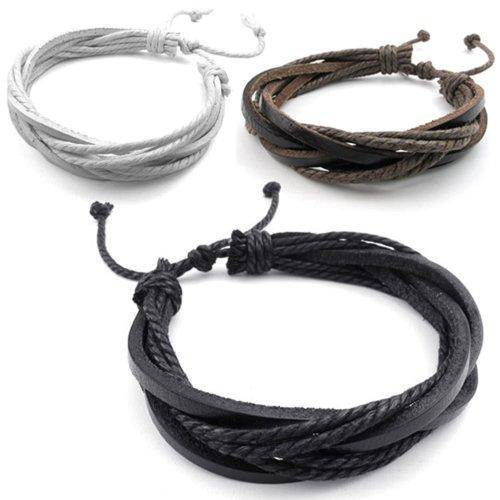3pcs Men Women Leather Bracelet, Surfer Wrap Bangle, fit 8-9 inch, Black Brown White