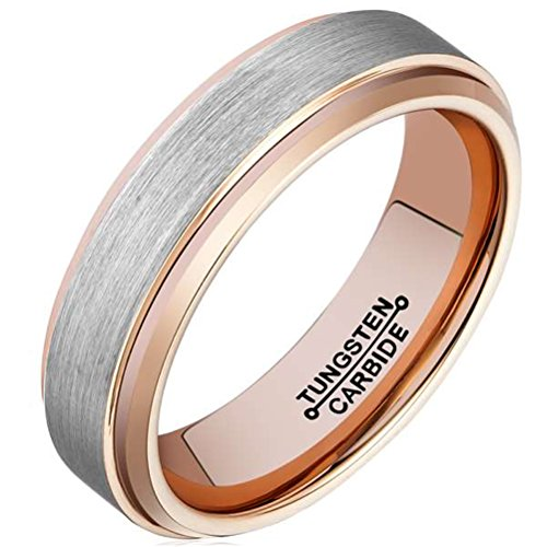 Men 6mm Tungsten Carbide Wedding Ring Rose Gold Plated Engagement Promise Band Matte Finish Comfort Fit - InnovatoDesign