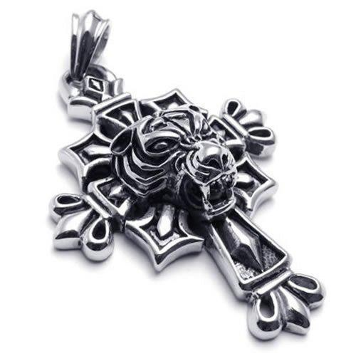 Gothic Stainless Steel Men Tiger Pendant Cross Necklace, 24 inch Chain