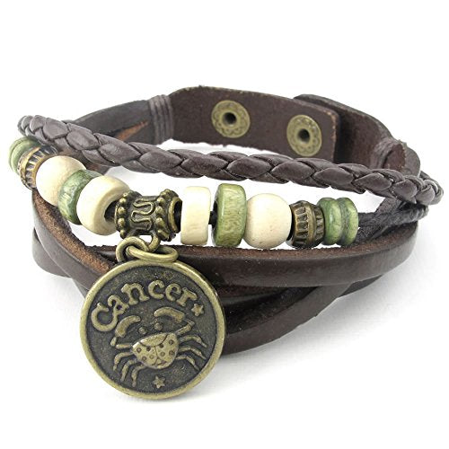 Men Women Leather Bracelet, Zodiac Sign Charms Beads Adjustable Bangle, Brown - InnovatoDesign