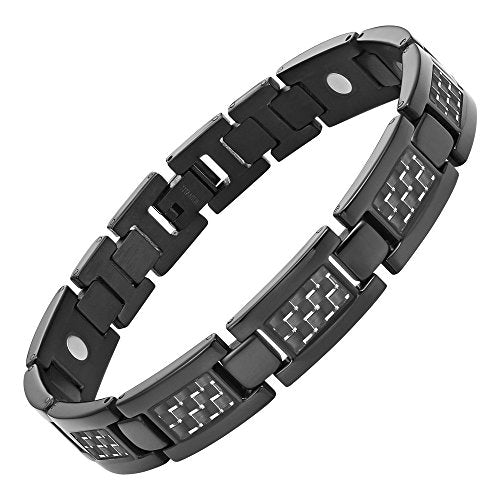 Men's Titanium Magnetic Bracelet With Carbon Fiber with Link Removal Tool, Black - InnovatoDesign