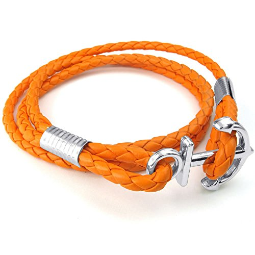 Men Women Braided Leather Bracelet, Anchor Bangle, Orange Silver