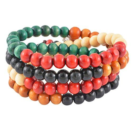 Couple's Retro Multicolour Imitation Sandalwood Beads Elastic Buddha