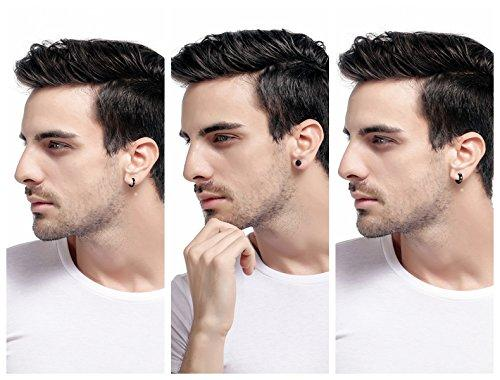 9 Pairs Stainless Steel Stud Earrings for Men Hoop Earrings Huggie Earring Set 18G