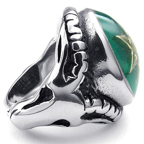 Men Stainless Steel Ring, Baphomet Pentagram Goat, Green