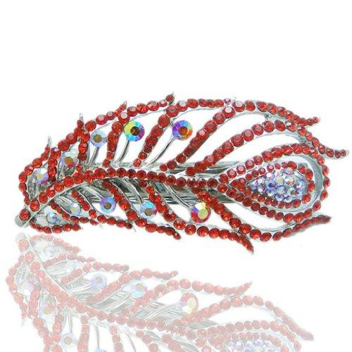 4 Inch Peacock Feather Austrian Crystal Red Hair Clip Silver-Tone