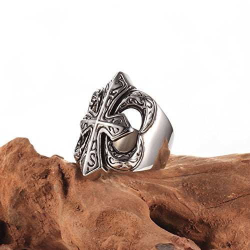 Vintage Classic Stainless Steel Rings, Men's Bands Punk Gothic Cross Black Silver,sizes 8 9 10 11 12