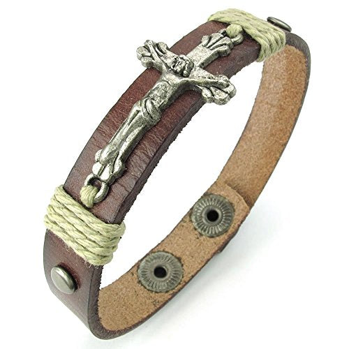 Men Women Leather Bracelet, Crucifix Cross Bangle 7-8.5 inch Adjustable, Brown Silver - InnovatoDesign