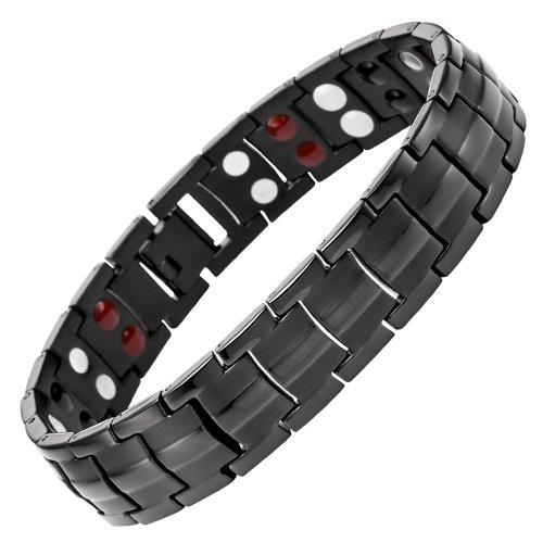 Double Strength 4 Element Titanium Magnetic Therapy Bracelet for Arthritis Pain Relief Black Colour Adjustable