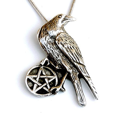 Silver Crow Wicca Pentagram Pendant Snake Necklace