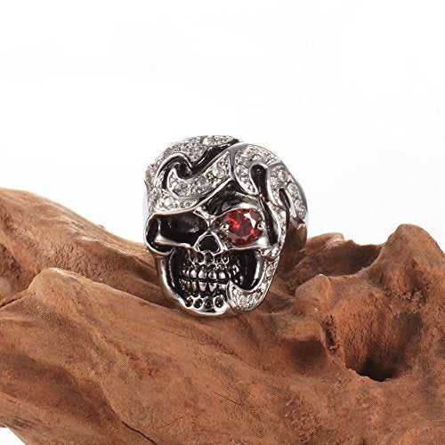 Men's New Jewelry Stainless Steel Ring Garnet Red Simulated Cz Eye Skull Silver Black Gothic - InnovatoDesign