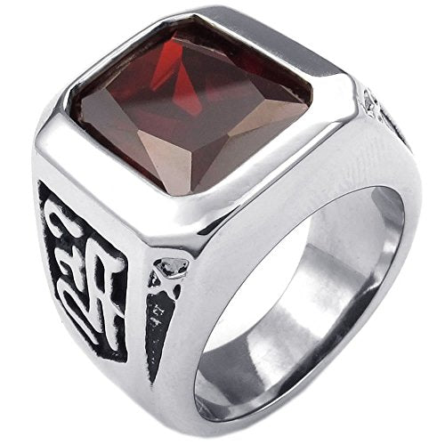 Men Crystal Stainless Steel Ring, Classic Gothic, Red