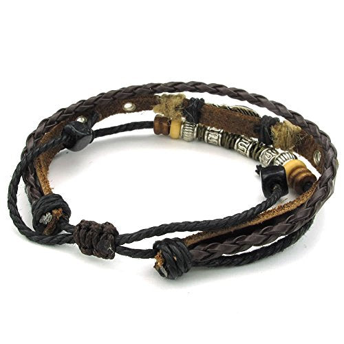 Men Women Leather Bracelet, Feather Charm 7-9 inch Adjustable Wrap Bangle, Brown Silver