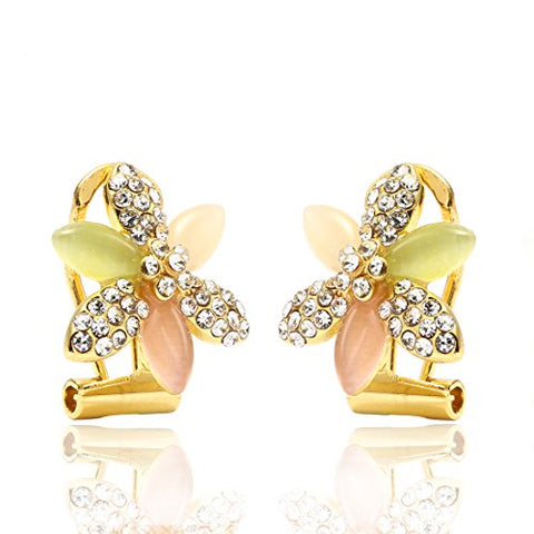 Cute Colorful Gold Rhinestone Flower Clip-on Earrings
