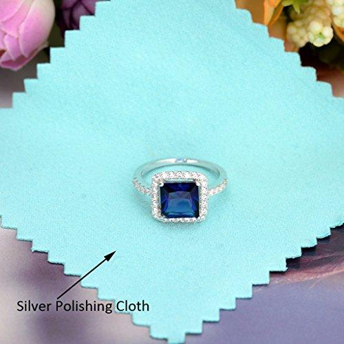 925 Sterling Silver Princess Cut Sapphire Color CZ September Birthstone Ring Blue