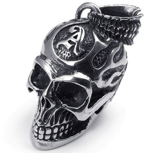 Stainless Steel Gothic Skull Pendant Biker Men Necklace, Silver, 24 inch Chain - InnovatoDesign