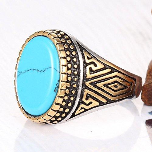 Gold Plated Stainless Steel Vintage Blue Turquoise Ring Band,Greek Sculpture,Blue Gold