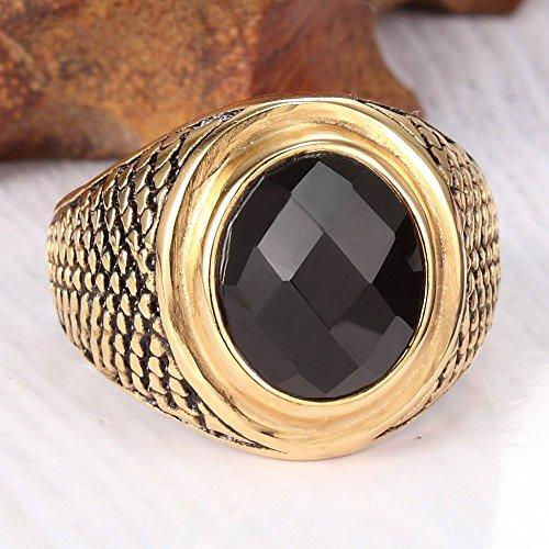 18K Gold Plated Stainless Steel Vintage Black Crystal Ring Band,Black Gold