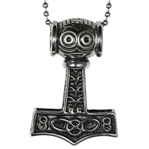 Stainless Steel Thor's Hammer Infinity Pendant Necklace
