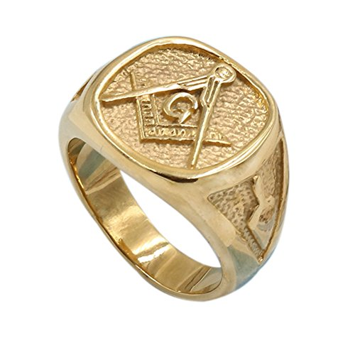 Men's Womens Masonic Ring 18K Gold Plated Freemason Symbol Ring - InnovatoDesign