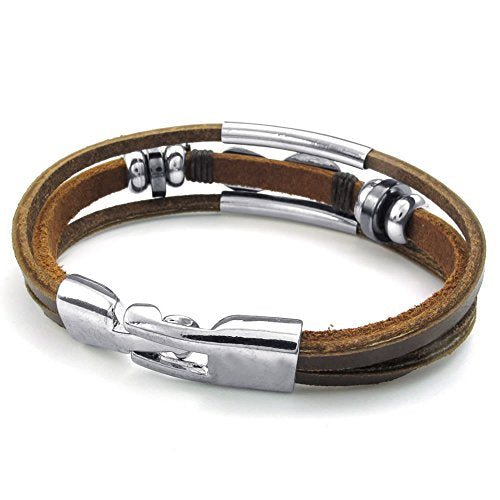 Men Women Leather Bracelet, Love Infinity Charm Cuff Bangle, Brown Silver - InnovatoDesign