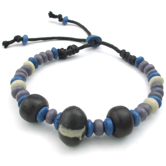 Men Women Ceramic Rope Bracelet, Tribal, Fit 7-9 inch Adjustable, Blue Black - InnovatoDesign