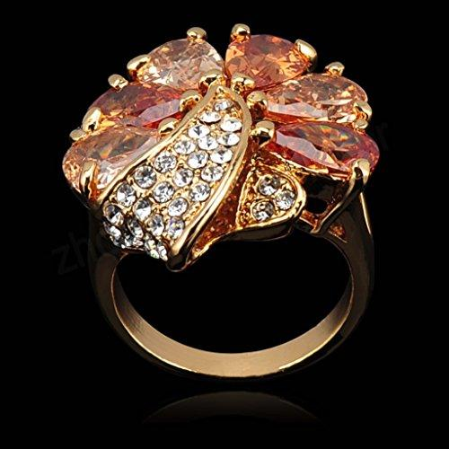 18k Gold Plated Flower Leaves Yellow Zirconia Crystal Az0212r Ring (Available in Sizes 5.5 7 8 9 10 11.5)