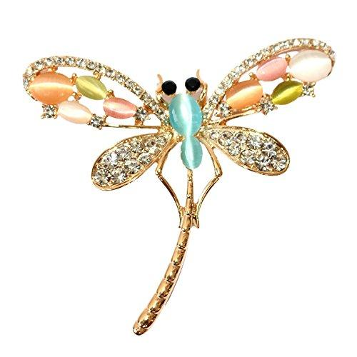 18k Gold Plated Colorful Opal Crystal Dragonfly Brooch Pin