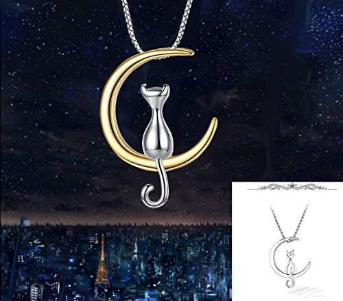 Women's 925 Sterling Silver Cat Sitting on Crescent Moon Daily Pendant Necklace Gold-color - InnovatoDesign