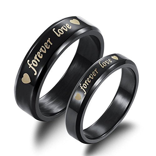 "Stainless Steel "" Forever Love "" Double Heart Couples Promise Ring Wedding Bands - InnovatoDesign"